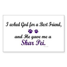 God Gave Me A Shar Pei Rectangle Decal