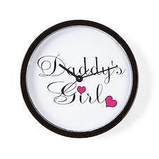 Daddys Girl Pink Hearts Wall Clock