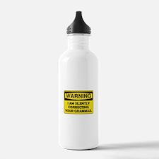 Warning Grammar Water Bottle