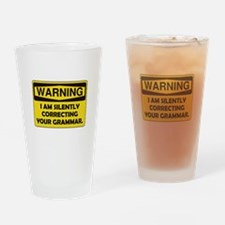 Warning Grammar Drinking Glass