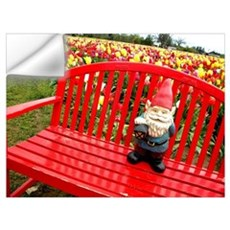 Red Bench Gnome Wall Decal