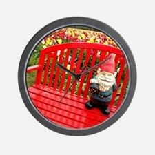Red Bench Gnome Wall Clock