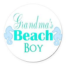 Grandmas Beach Boy Seahorses Round Car Magnet