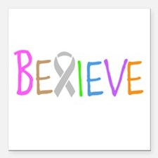 "Believe Square Car Magnet 3"" x 3"""