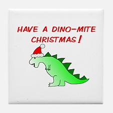 DINO-MITE CHRISTMAS Tile Coaster
