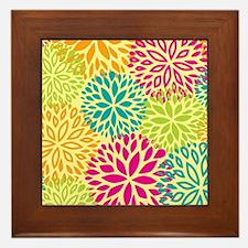Vintage Floral Pattern Framed Tile