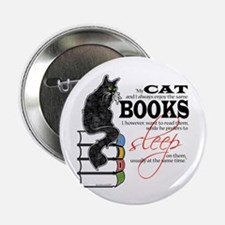 Cat and Books 2 Button