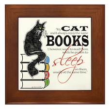 Cat and Books 2 Framed Tile