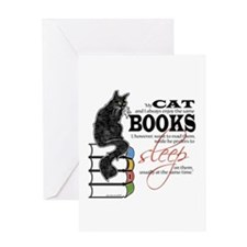Cat and Books 2 Greeting Card