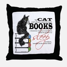 Cat and Books 2 Throw Pillow