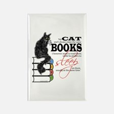 Cat and Books 2 Rectangle Magnet