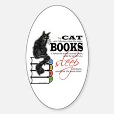 Cat and Books 2 Oval Decal