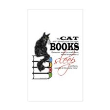 Cat and Books 2 Rectangle Decal