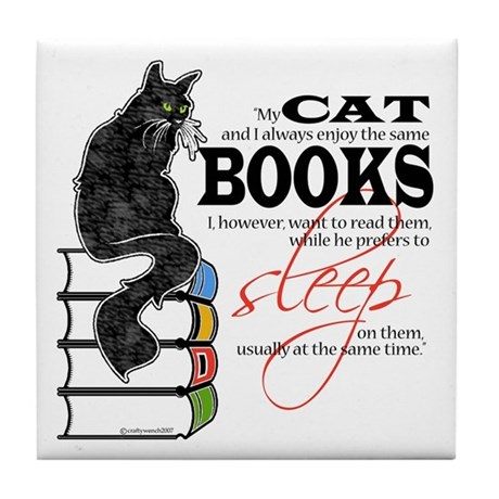 Cat and Books 2 Tile Coaster