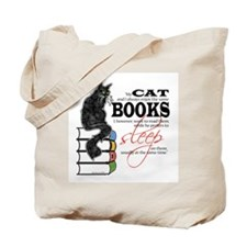 Cat and Books 2 Tote Bag