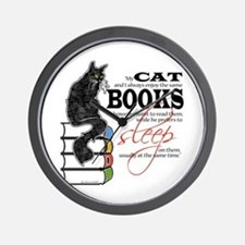 Cat and Books 2 Wall Clock