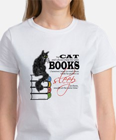 Cat and Books 2 Tee