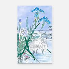 Blue Iris Heron Pond Rectangle Car Magnet