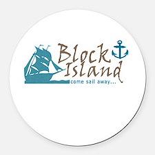 Block Island Sail Away Round Car Magnet