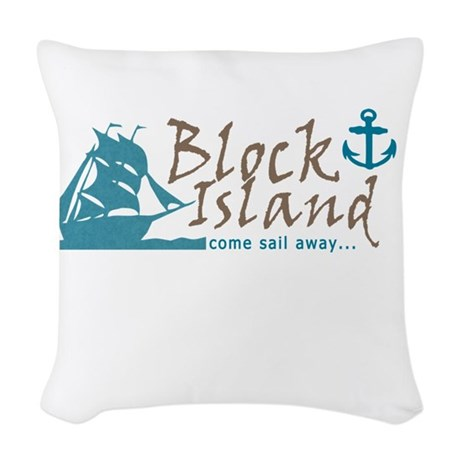 Block Island Sail Away Woven Throw Pillow by 3QuarterDesigns