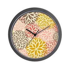 Vintage Floral Pattern Pink & Brown Wall Clock