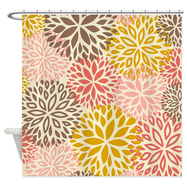vintage floral pattern pink brown shower curtain by admin cp1053336. Black Bedroom Furniture Sets. Home Design Ideas