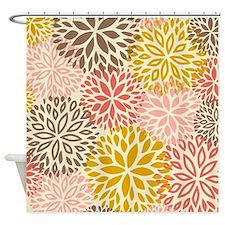 Vintage Floral Pattern Pink & Brown Shower Curtain