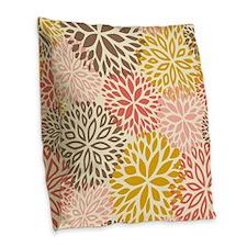 Vintage Floral Pattern Pink & Burlap Throw Pillow