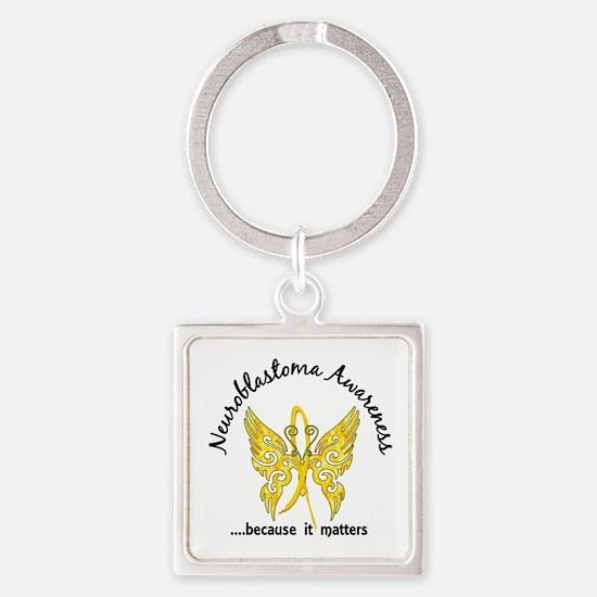 Neuroblastoma Butterfly 6.1 Square Keychain