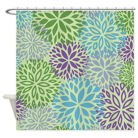 Vintage Floral Pattern Shower Curtain