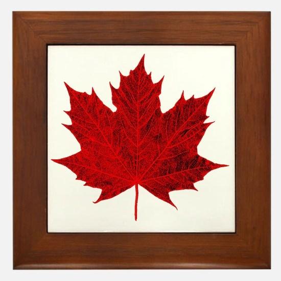 Vibrant Red Maple Leaf Framed Tile