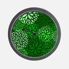 Vintage Floral Pattern Green Wall Clock