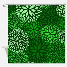 Vintage Floral Pattern Green Shower Curtain