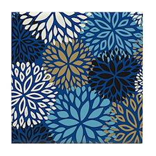 Vintage Floral Pattern Blue Tile Coaster