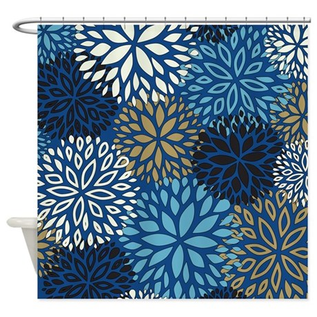 Vintage floral pattern blue shower curtain by admin cp1053336