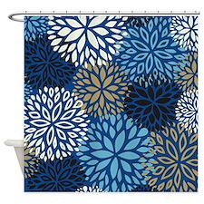 Vintage Floral Pattern Blue Shower Curtain