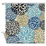 Brown blue flower Shower Curtains