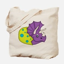 Purple Dinosaur And Green Egg Tote Bag