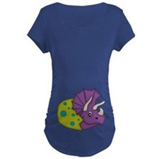 Purple Dinosaur And Green Egg Maternity T-Shirt