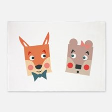 Foxes 5'x7'Area Rug
