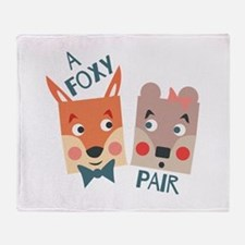 A Foxy Pair Throw Blanket