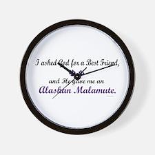 God Gave Me An Alaskan Malamute Wall Clock