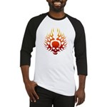 Flaming Skull tattoo Baseball Jersey