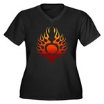 Flaming Skull tattoo Women's Plus Size V-Neck Dark
