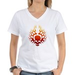 Flaming Skull tattoo Women's V-Neck T-Shirt