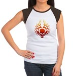 Flaming Skull tattoo Women's Cap Sleeve T-Shirt