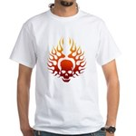 Flaming Skull tattoo White T-Shirt