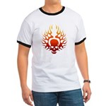 Flaming Skull tattoo Ringer T