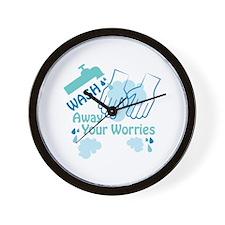 Wash Away Worries Wall Clock