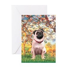 Spring / Pug Greeting Card